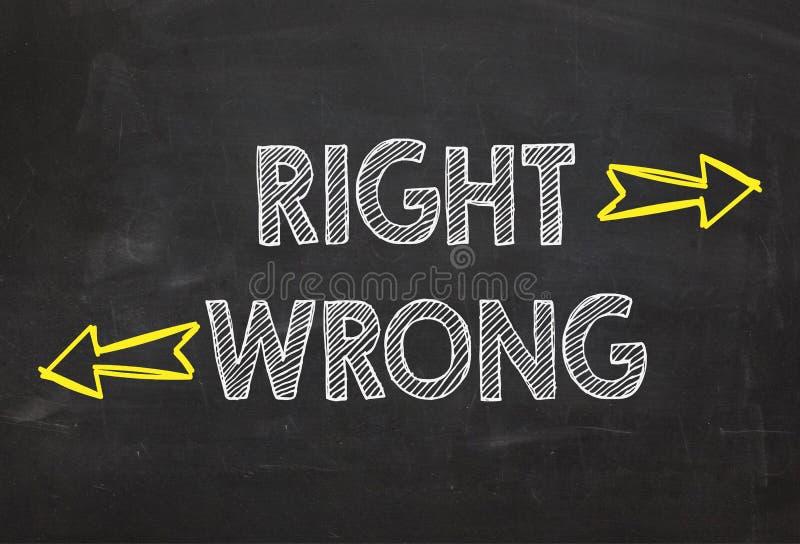 Direito e erro do texto Conceito direito e errado da informação fotos de stock royalty free