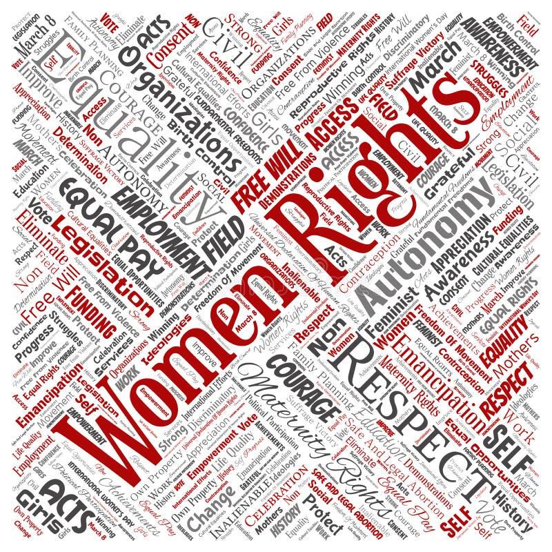 Direitos das mulheres do vetor, igualdade, livre arbítrio ilustração stock