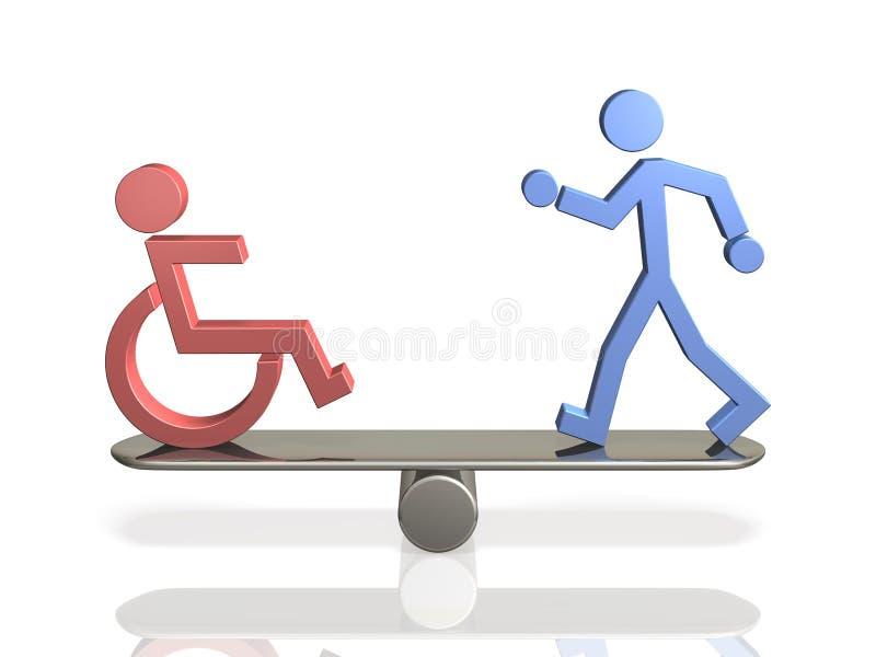 Direitos iguais dos povos com inabilidades e da pessoa corpórea capaz. ilustração do vetor