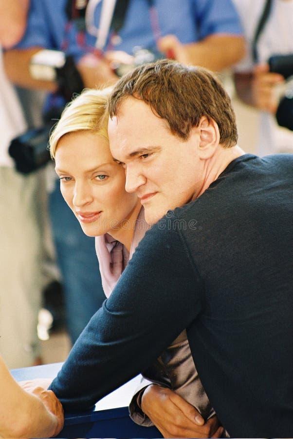 : Direktör Quentin Tarantino och aktrisUma Thurm royaltyfria bilder