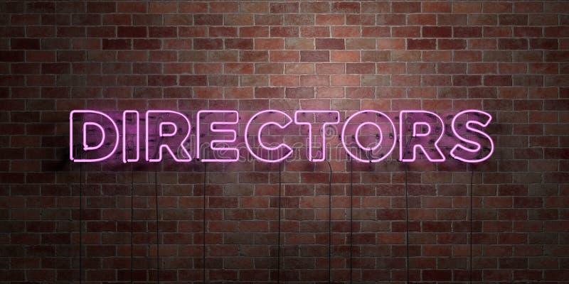 DIREKTÖRER - fluorescerande tecken för neonrör på murverk - främre sikt - 3D framförd fri materielbild för royalty royaltyfri illustrationer