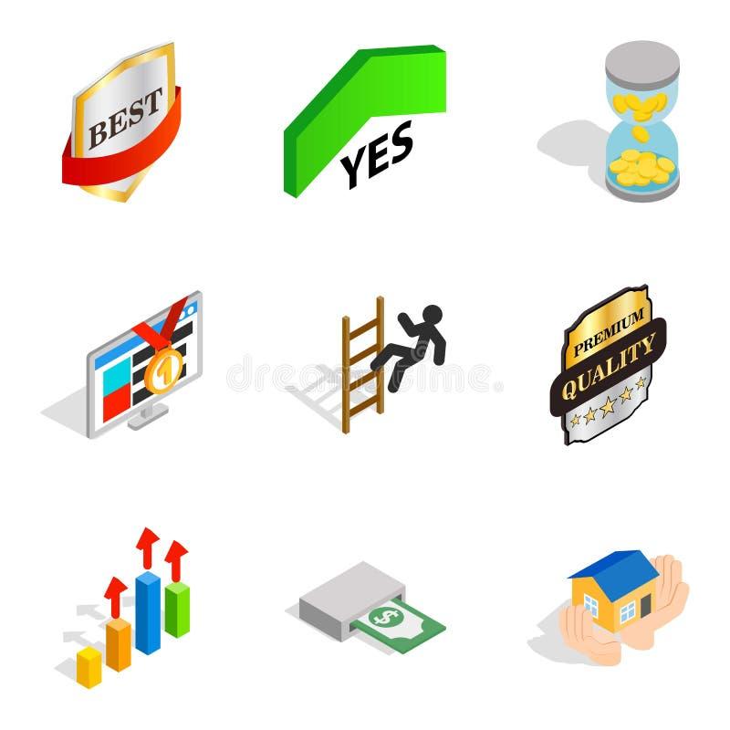 Direktörs- positionssymbolsuppsättning, isometrisk stil royaltyfri illustrationer