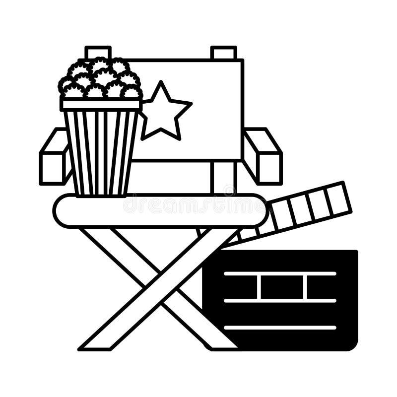 Direkt?rstolpopcorn och panelbr?dabiofilm stock illustrationer