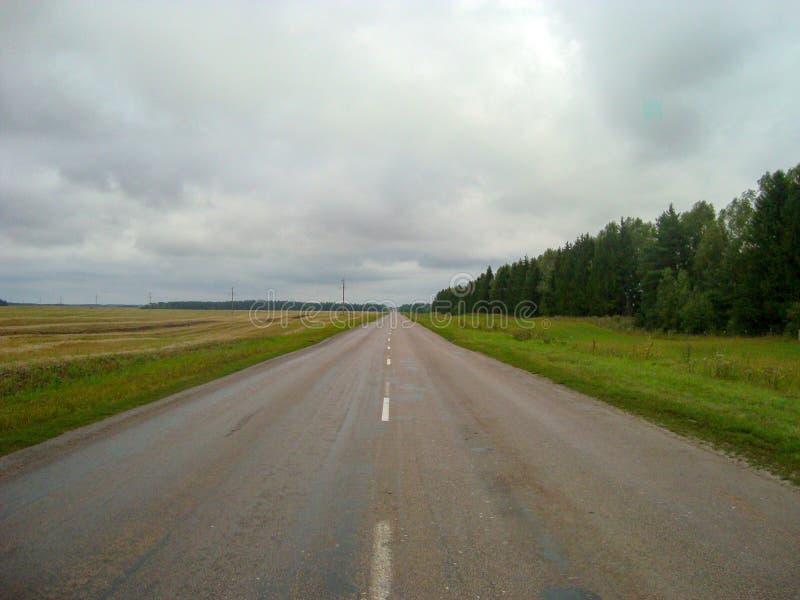Direkt asfaltväg till och med bygden under himlen, som molnen svävar på royaltyfri foto