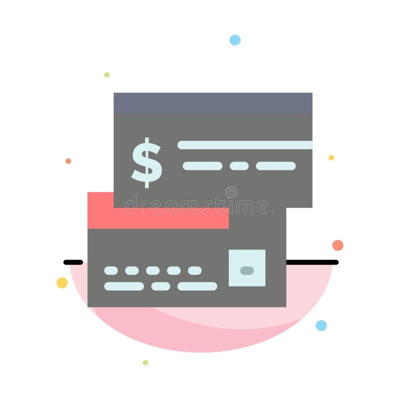 Direkt betalning, kort, kreditering, debitering, direkt abstrakt plan färgsymbolsmall royaltyfri illustrationer