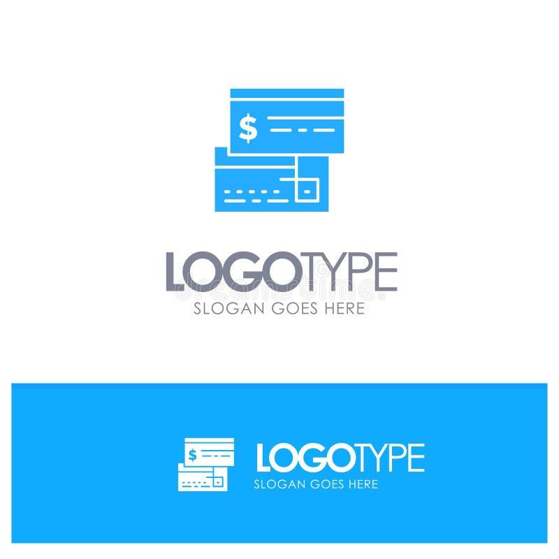 Direkt betalning, kort, kreditering, debitering, direkt blå fast logo med stället för tagline stock illustrationer