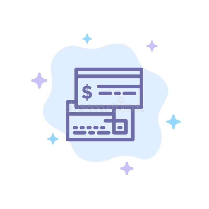 Direkt betalning, kort, kreditering, debitering, direkt blå symbol på abstrakt molnbakgrund royaltyfri illustrationer