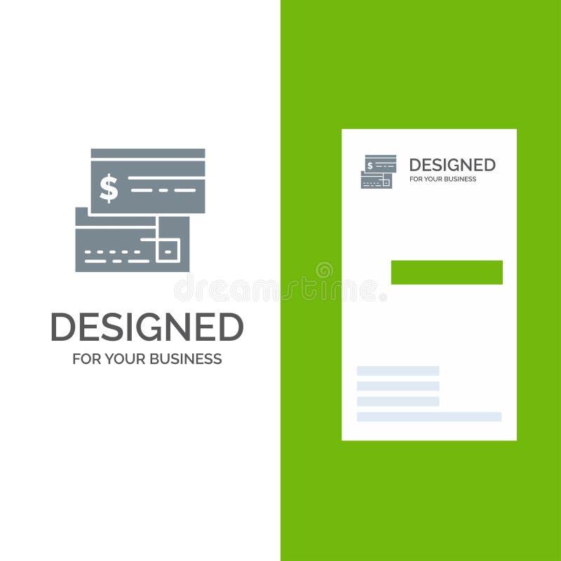Direkt betalning, kort, kreditering, debitering, direkta Grey Logo Design och mall för affärskort royaltyfri illustrationer