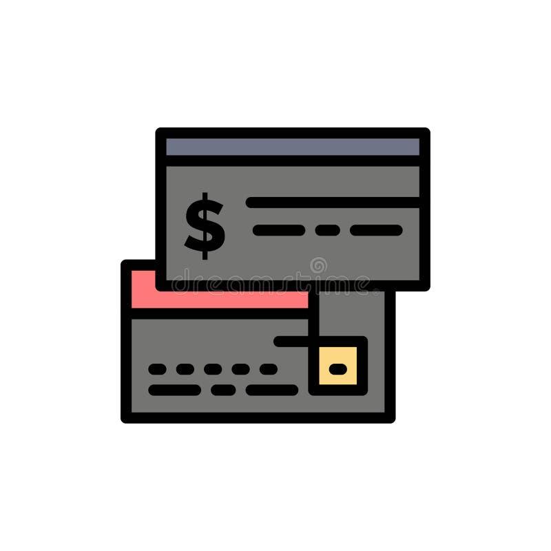 Direkt betalning, kort, kreditering, debitering, direkt plan färgsymbol Mall för vektorsymbolsbaner stock illustrationer