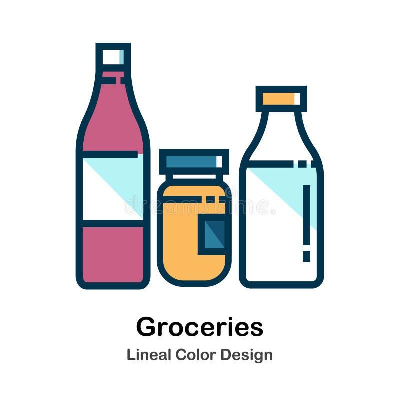 Direkt färgsymbol för livsmedel royaltyfri illustrationer
