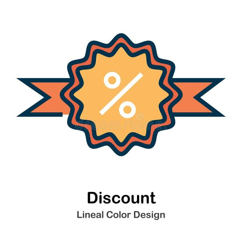 Direkt färgsymbol för rabatt stock illustrationer