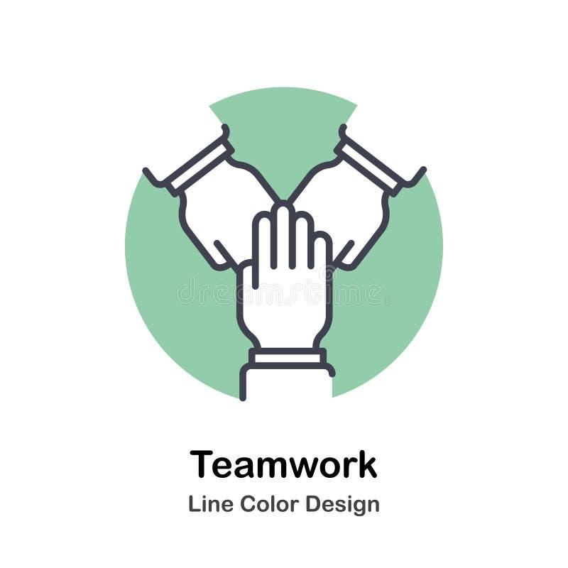 Direkt färgsymbol för teamwork stock illustrationer