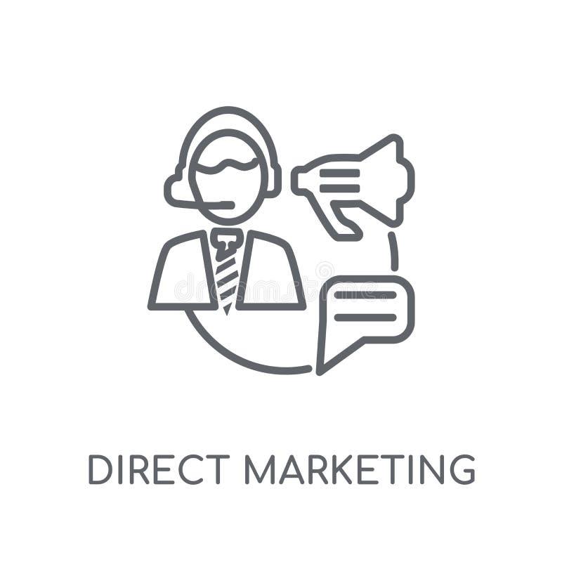 direkt linjär symbol för marknadsföra Modern lo för direkt marknadsföring för översikt royaltyfri illustrationer