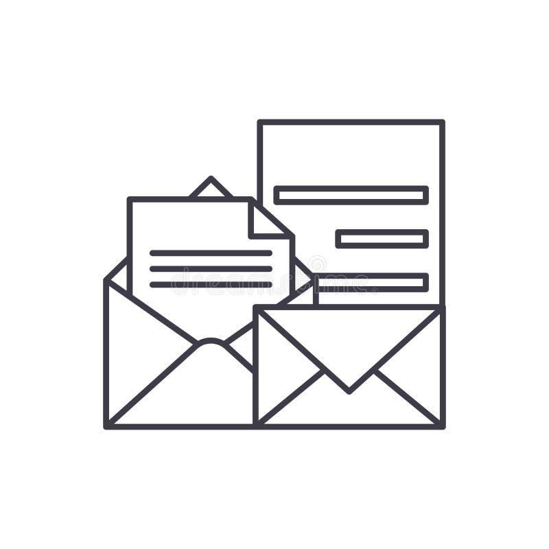 Direkt linje symbolsbegrepp för marknadsföra Direkt illustration för vektor för marknadsföra linjär, symbol, tecken vektor illustrationer