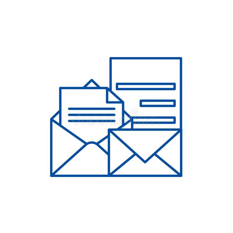 Direkt linje symbolsbegrepp för marknadsföra Direkt plant vektorsymbol för marknadsföra, tecken, översiktsillustration vektor illustrationer