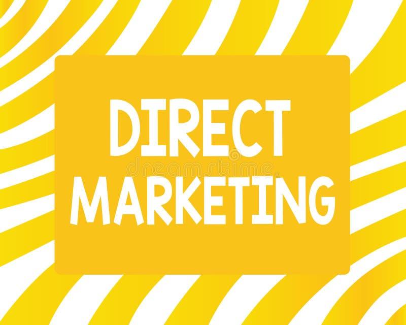 Direkt marknadsföring för ordhandstiltext Affärsidé för affär av att sälja produkter eller service till allmänhet royaltyfri illustrationer