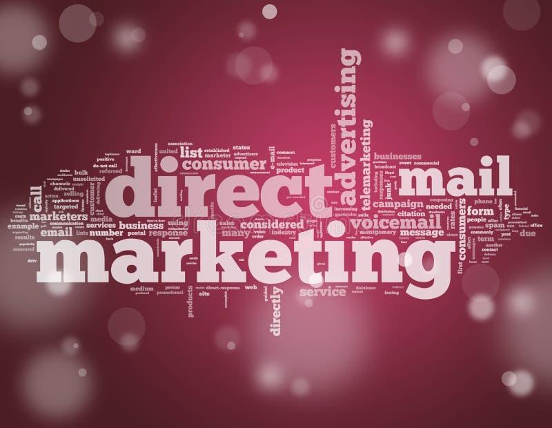 Direkt marknadsföring för ordmoln royaltyfri illustrationer