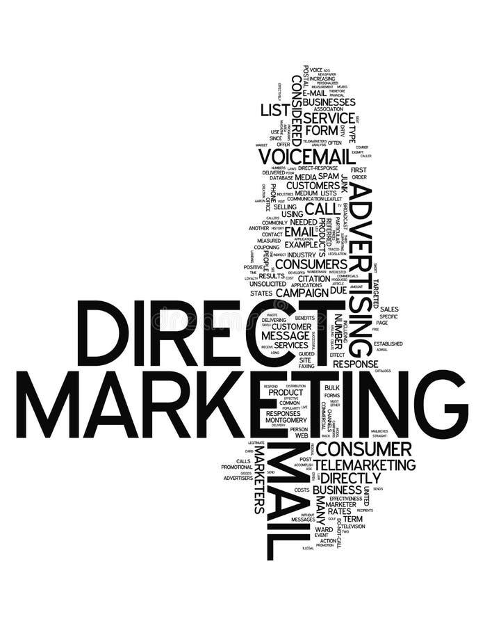 Direkt marknadsföring för ordmoln stock illustrationer