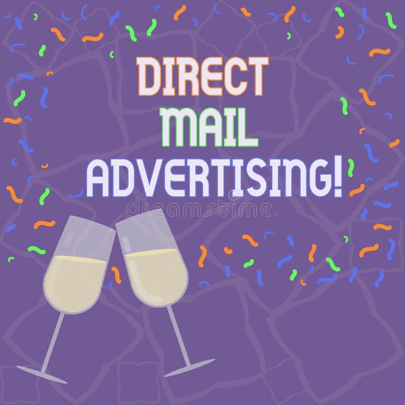 Direkt post för handskrifttext som annonserar Begrepp som betyder att leverera marknadsföringsmaterial till den fyllda klienten a stock illustrationer