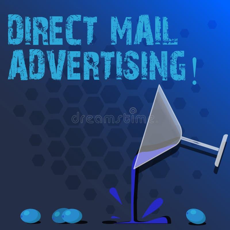 Direkt post för ordhandstiltext som annonserar Affärsidé för att leverera marknadsföringsmaterial till klienten av post- post vektor illustrationer