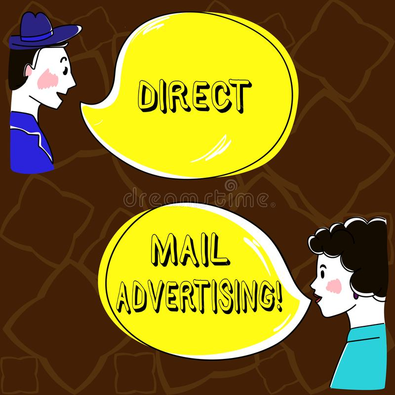 Direkt post för ordhandstiltext som annonserar Affärsidé för att leverera marknadsföringsmaterial till klienten av den post- post royaltyfri illustrationer