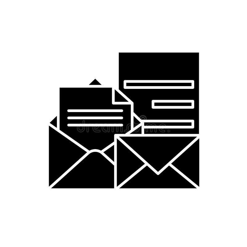 Direkt svart symbol för marknadsföra, vektortecken på isolerad bakgrund Direkt begreppssymbol för marknadsföra, illustration royaltyfri illustrationer