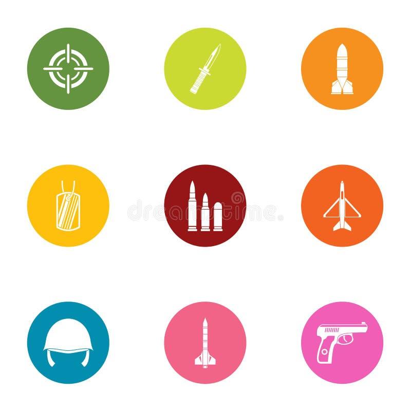 Direkt symbolsuppsättning, lägenhetstil stock illustrationer
