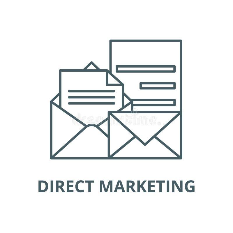 Direkt vektorlinje symbol, linjärt begrepp, översiktstecken, symbol för marknadsföra vektor illustrationer