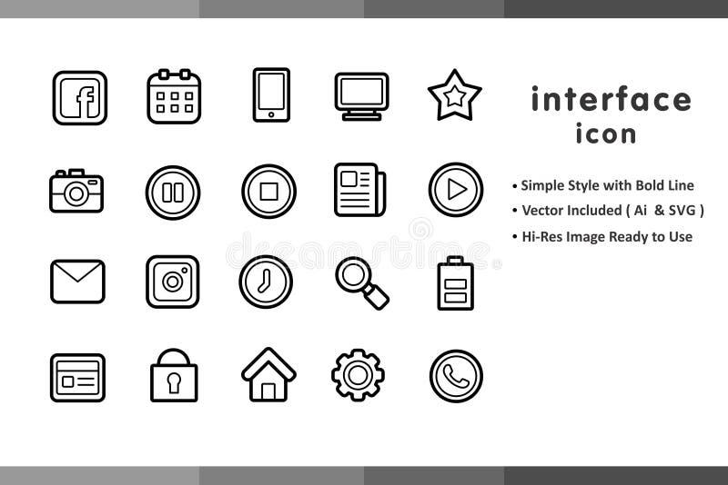 Direkte Ikonen-Sätze für Website stockfoto