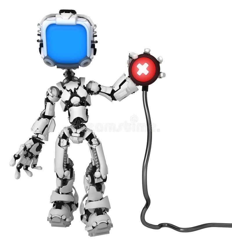 Direktskärmsrobot, kabelröd knapp vektor illustrationer
