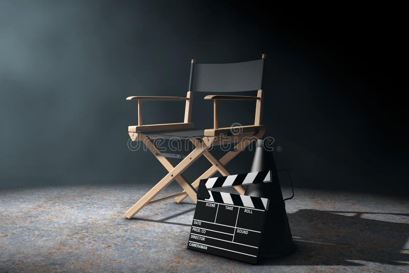 Diretor Cadeira, válvula do filme e megafone no li volumétrico ilustração stock