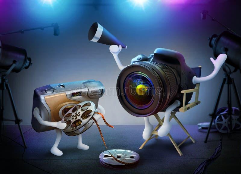 Diretor da câmera de DSLR e assistente descartável em um plateau de filmagem ilustração royalty free
