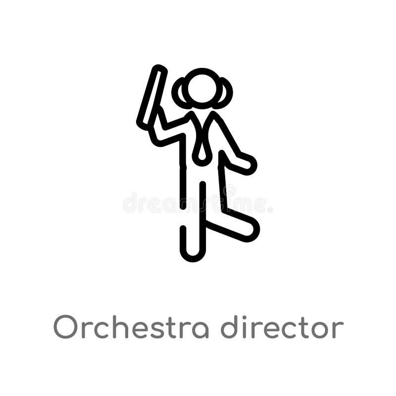 diretor da orquestra do esboço com ícone do vetor da vara linha simples preta isolada ilustração do elemento do conceito da músic ilustração royalty free