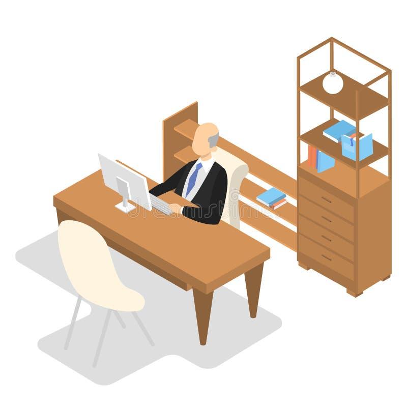 Diretor de escola que senta-se em no seu escritório e trabalho ilustração stock