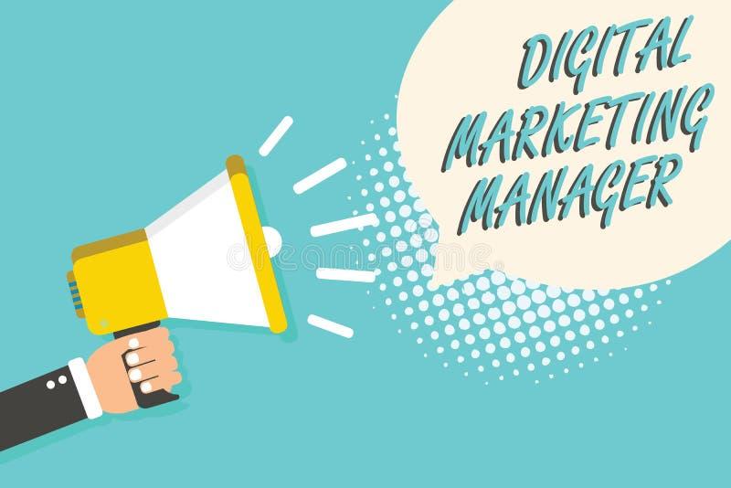 Diretor de marketing de Digitas do texto da escrita da palavra Conceito do negócio para aperfeiçoado para afixar nas placas ou no fotos de stock