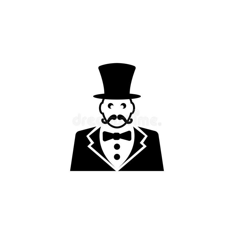 Diretor do circo, mestre da cerimônia do circo com ícone liso do vetor do chapéu ilustração royalty free