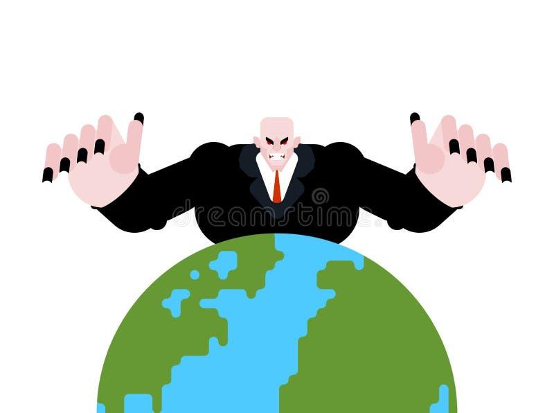 Diretor do mundo Chefe irritado na terra homem da raiva do diretor empresarial Trabalho do homem de neg?cios ilustração do vetor