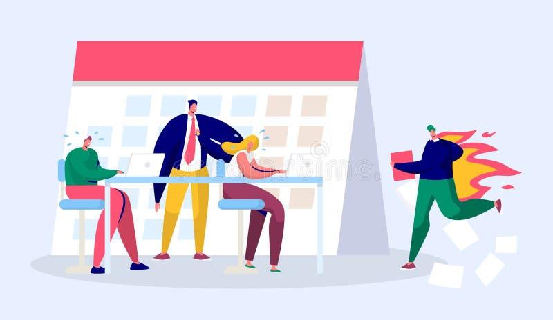 Direttore aziendale Person Work Overtime dell'ufficio al termine Rapporto completo del carattere di sforzo sotto il capo duro Pre illustrazione vettoriale
