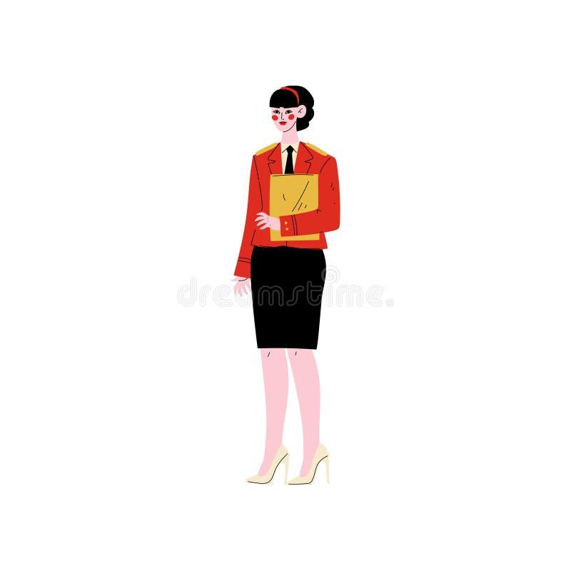 Direttore di hotel femminile Standing con la lavagna per appunti, carattere del personale dell'hotel nell'illustrazione uniforme  illustrazione vettoriale