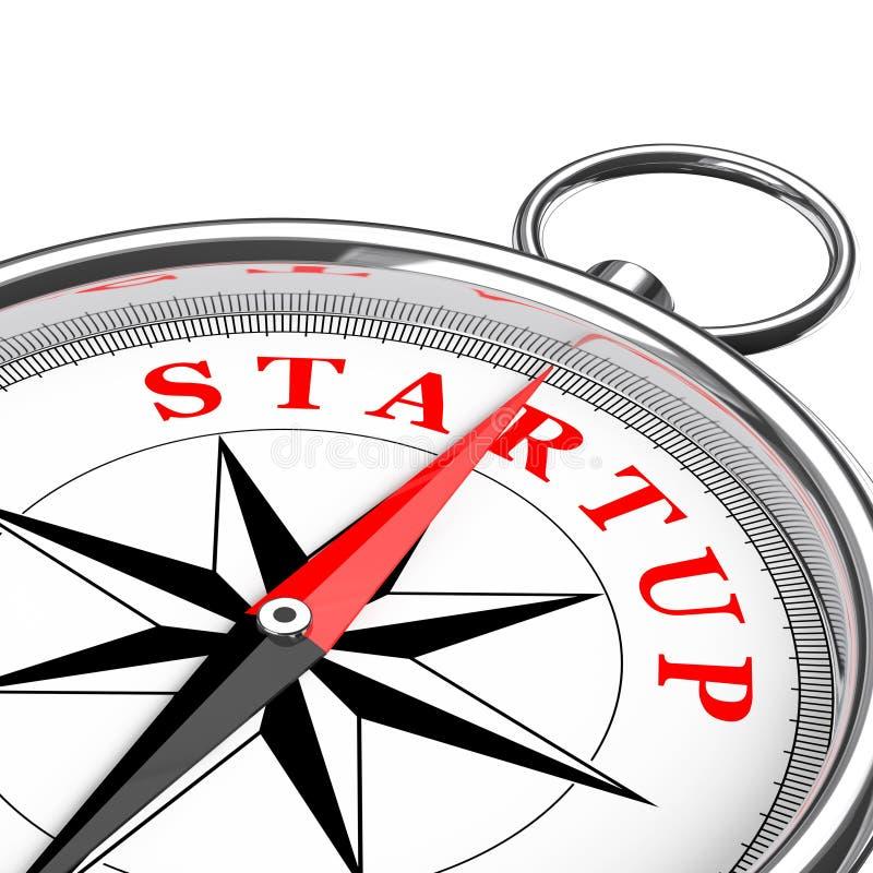 Direzione al primo piano concettuale Startup della bussola rappresentazione 3d illustrazione di stock
