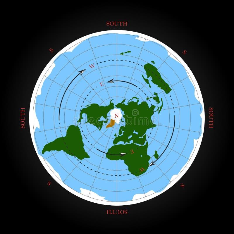 Direzione cardinale sulla mappa piana della terra Illustrazione isolata di vettore illustrazione di stock