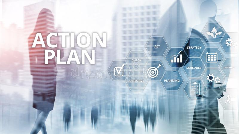 Direzione di visione di pianificazione di strategia di piano d'azione Concetto finanziario su fondo vago fotografia stock