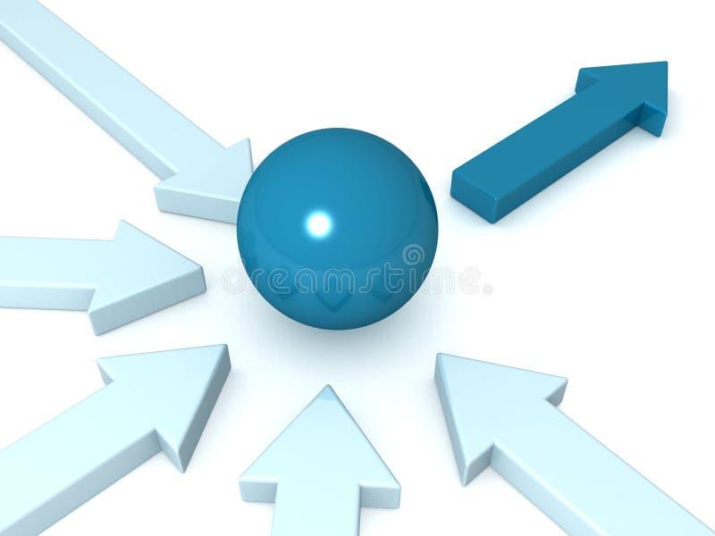 Direzione e concetto di lavoro di squadra con le frecce della sfera illustrazione di stock