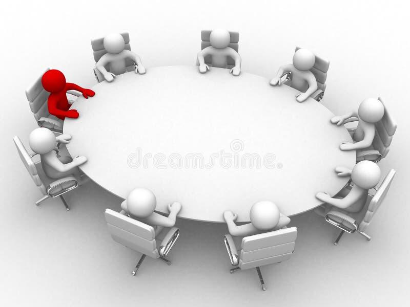 Direzione e squadra alla tabella di congresso illustrazione di stock