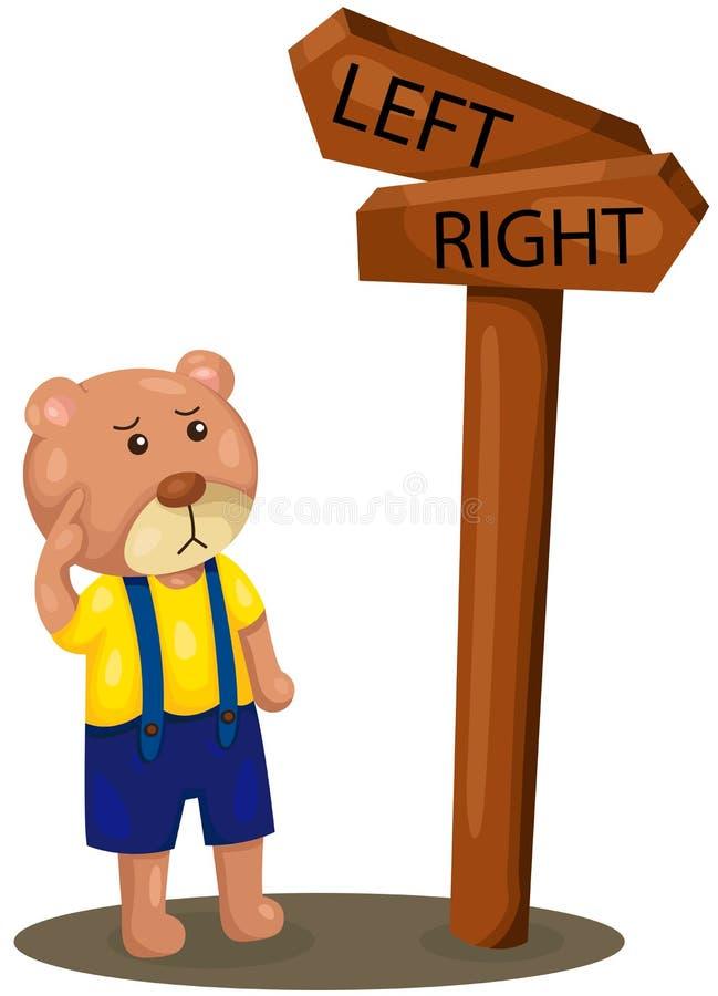 Download Direzione Persa Dell'orso Sveglio Illustrazione Vettoriale - Illustrazione di segno, destra: 56883429