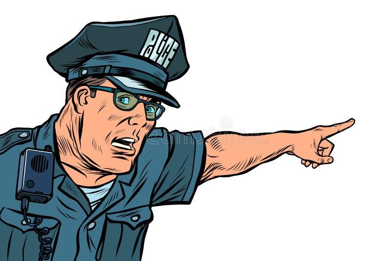 Direzioni dei punti del poliziotto dell'ufficiale di polizia Isolato su fondo bianco illustrazione vettoriale