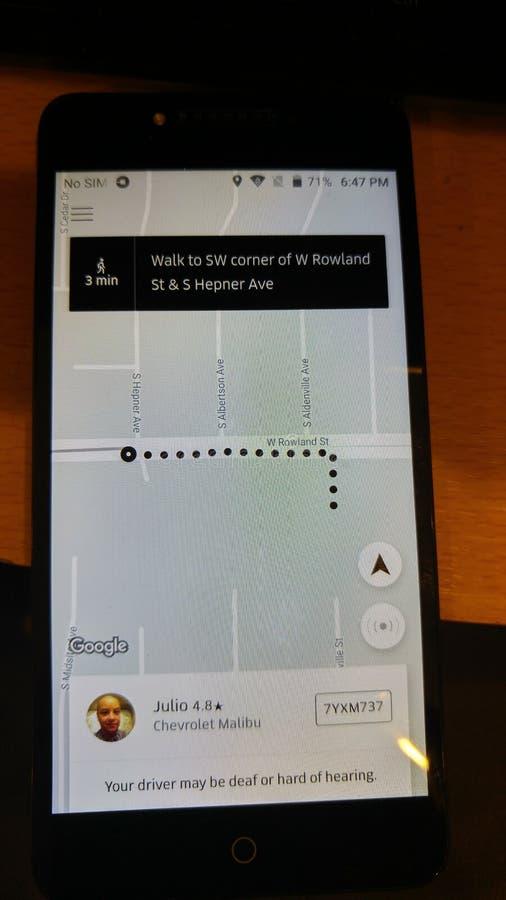 Direzioni di Uber immagine stock