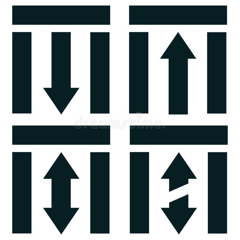 direzioni per entrare o lasciare in trasporto pubblico illustrazione vettoriale
