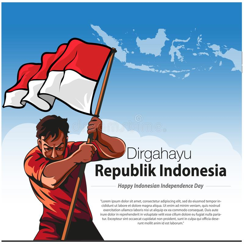 Dirgahayu republika Indonezja royalty ilustracja