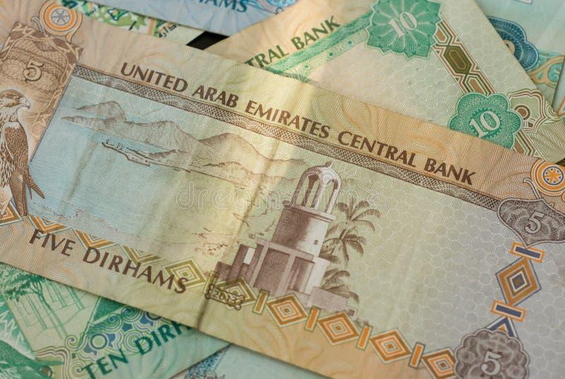 Dirhams des EAU Fond de billet de banque photographie stock